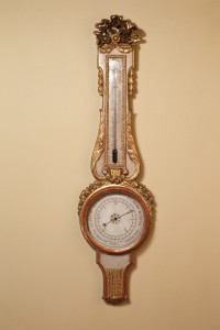 Olde Time Louis XVI Carved Giltwood & Painted Mercury Wheel Barometer