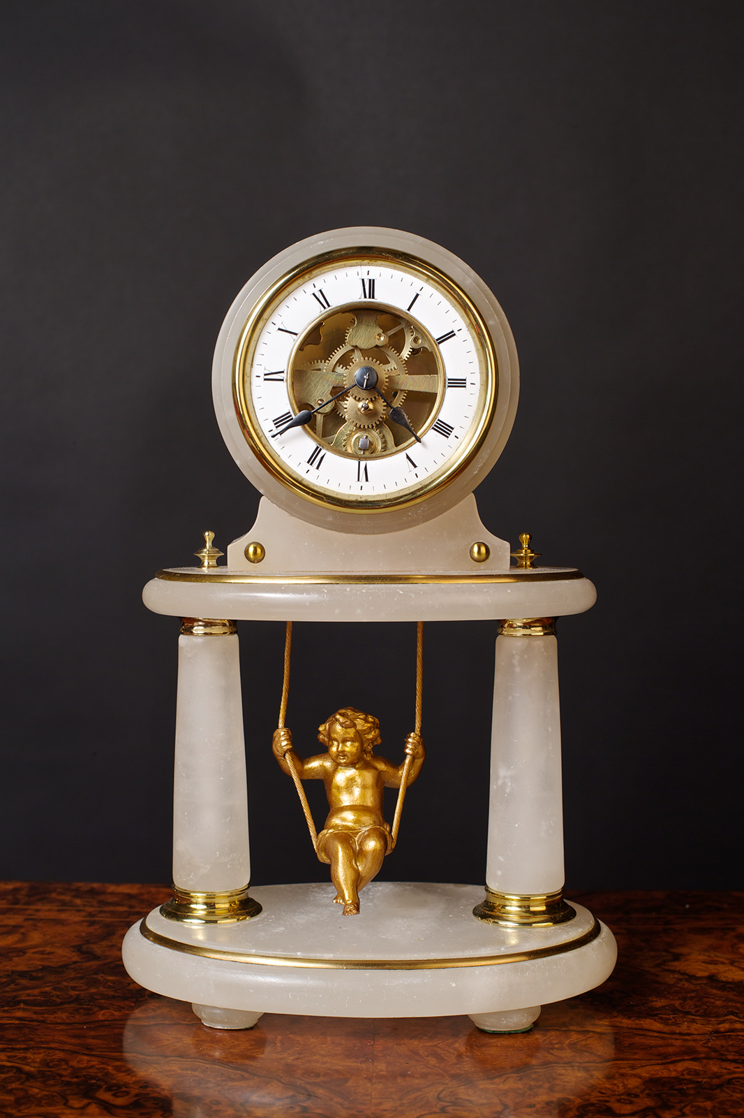 Olde Time French Swinging Cherub Clock