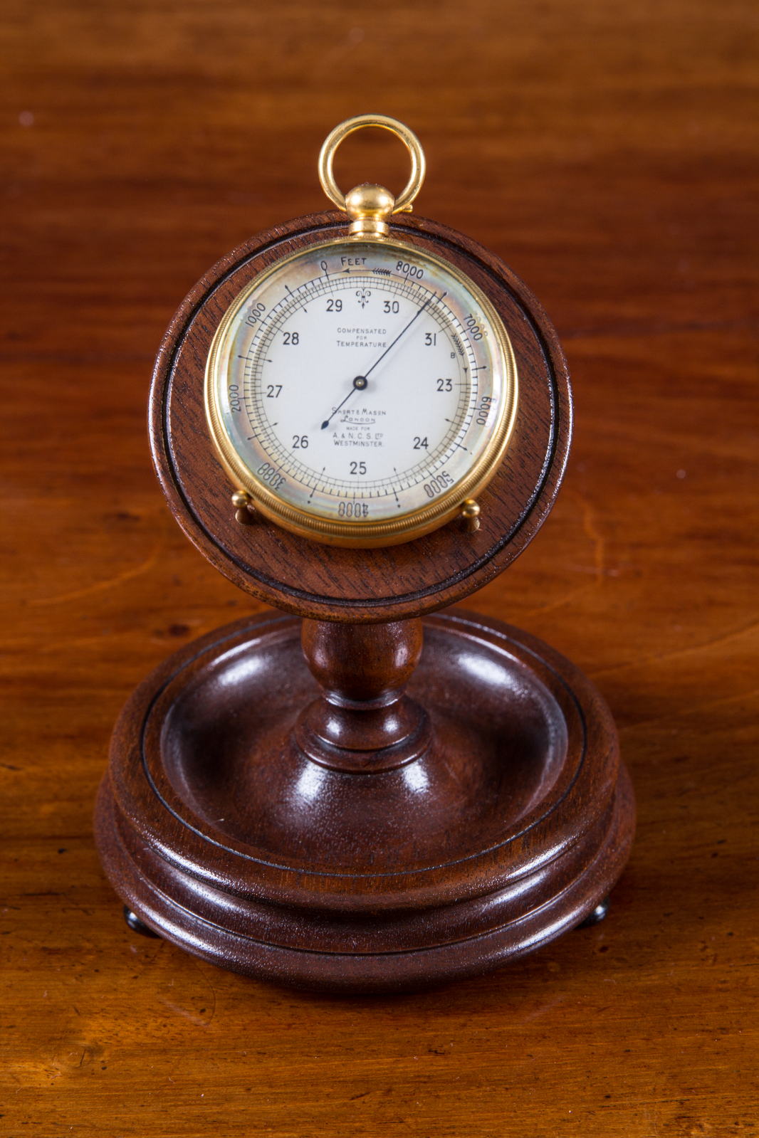 Olde Time Edwardian Gilt pocket Barometer/ Altimeter