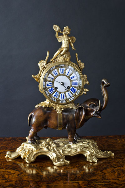 Olde Time Bronze Elephant Clock