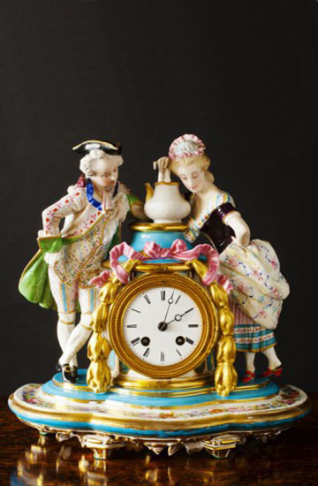 Olde Time Porcelain & Bisque Pottery Mantel Clock