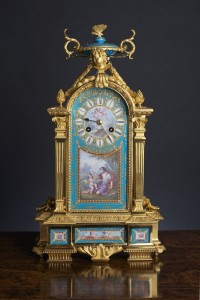 Olde Time Empire ormolu and porcelain clock