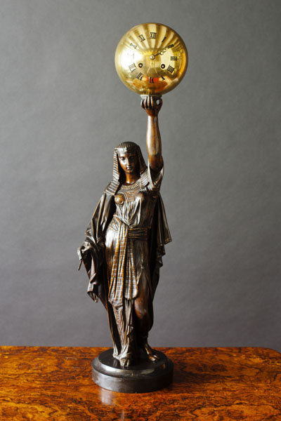 Olde Time Bronze Statue with Globe Clock