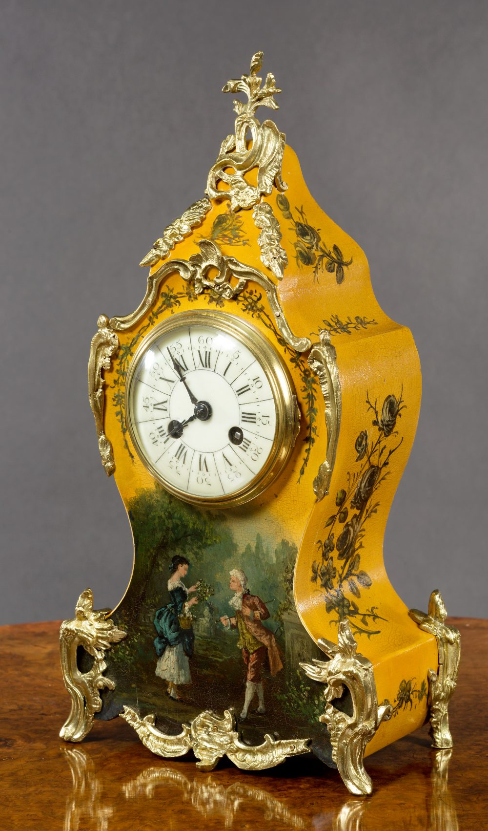 French Vernis Martin Mantel Clock Olde Time Antique
