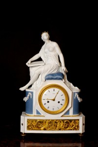 Olde Time French Empire Ormolu and Bisque Porcelain Clock