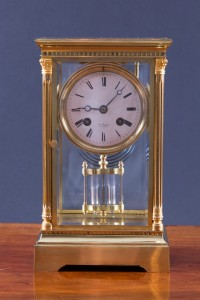 Olde Time French Four Glass Clock by Henri Marc, Paris