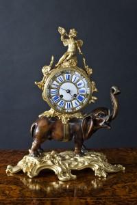 Olde Time Bronze Elephant Clock
