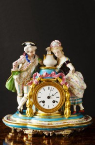 Olde Time Porcelain & Bisque Pottery Mantel Clock