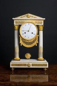 Olde Time Directoire Ormolu & White Marble Portigo Clock