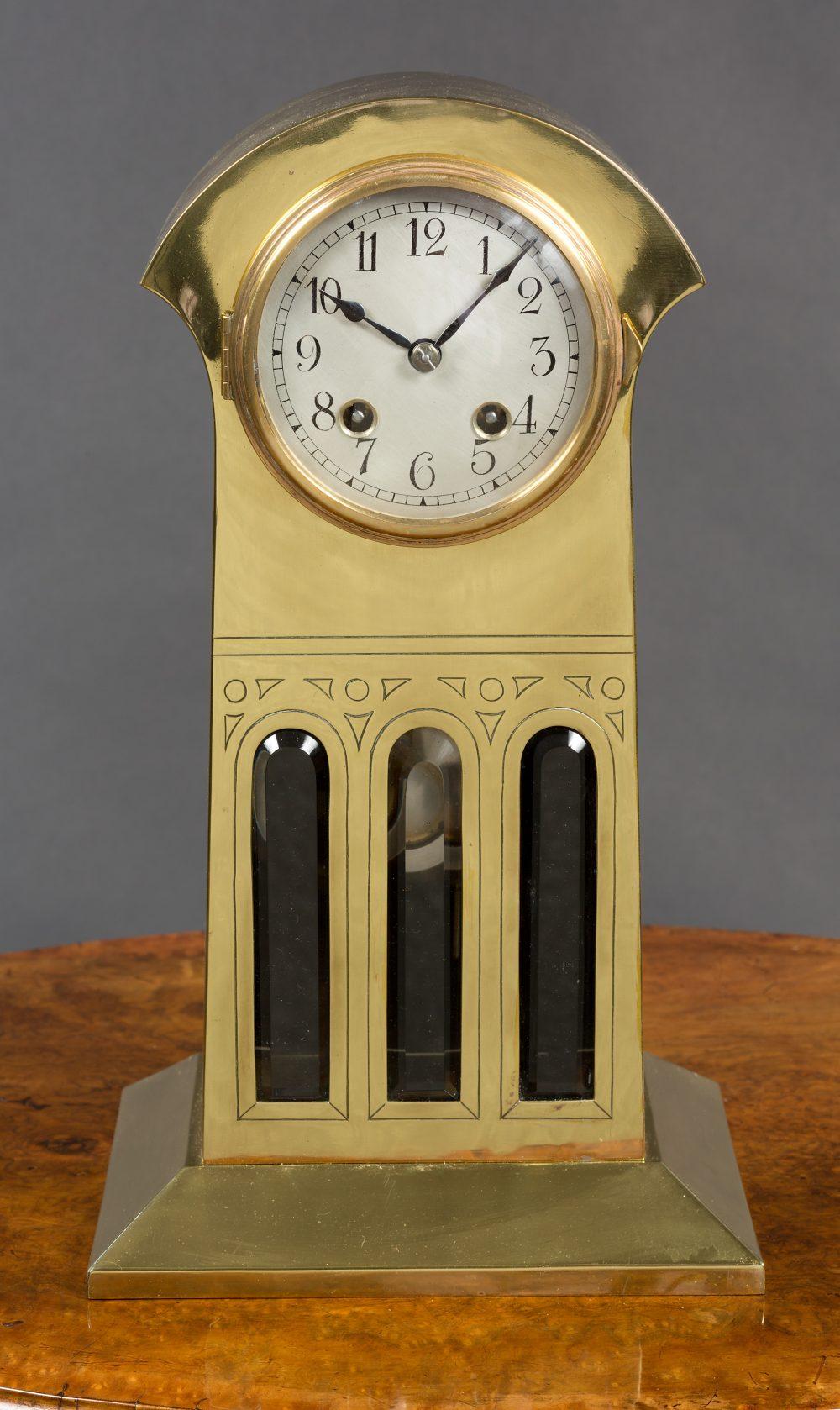 Art Nouveau Brass Mantel Clock Olde Time Antique Clocks